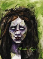 watercolor, painting, makeup rendering, zombie, horror, dark art