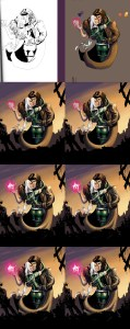 A step by step of my process of digital painting for a piece of Rogue and Gambit Fan art, of the X-men.