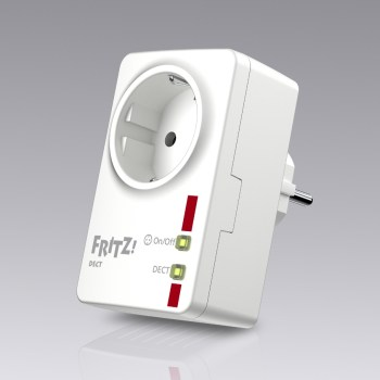 FRITZ!DECT 200, an intelligent socket that harnesses successful DECT technology to measure, adjust and control home automation applications. The intelligent socket can also be managed via a computer or phone using a FRITZ!Box with integrated DECT base station. And thanks to the MyFRITZ! service on the FRITZ!Box, users can also access FRITZ!DECT on the go. The range of smart features also includes a week-by-week calendar, a sunrise/sunset function for automatically switching on and off, and linking with a Google calendar. The FRITZ!DECT 200 measures the energy consumption of the devices connected to it – even over long periods of time – and notifies you of power consumption and switching times via push mail.