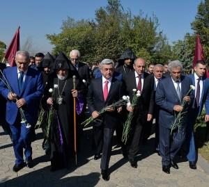 President Serge Sargisian and Catholicos of All Armenians Karekin II and other dignitaries mark Armenia's independence anniversary.