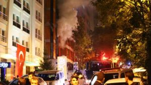 The HDP headquarters engulfed in flames