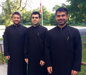 : New Students Subdeacon Samuel DeBlois, Deacon Alexander Calikyan, and Deacon Michael Sabounjian