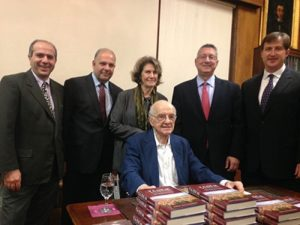 From left, Armenian Assembly Massachusetts State Chair Herman Purutyan, Board Co-Chair Anthony Barsamian, Board President Carolyn Mugar, Board Co-Chair Van Krikorian, and Executive Director Bryan Ardouny, with Assembly vice chairman and counselor Robert Aram Kaloosdian