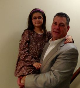 Sheriff Peter Koutoujian with his daughter at this year's commemoration of the Heroic Defense of Marash (photo by Bethel Bilezikian Charkoudian)