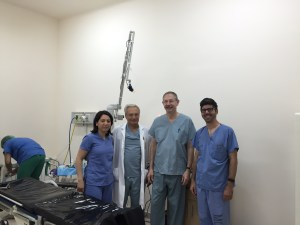 Dr. Lilit Garibyan, Dr. Nishan Goudsouzian, Dr. Rox Anderson and Dr. Ray Jalian in the operating room at Arabkir Pediatric Hospital right before starting the treatment cases.