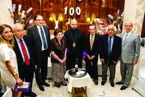 From left, master of ceremonies Annie Boghossian-Tashjian, Berdj Terzian, Amb. Armen Melkonian, Alis Depoyan, Bishop Ashot Mnatsakanyan, Garbis Yazedjian, Hagop Avedikian, Dr. Kevork Erzingatsian