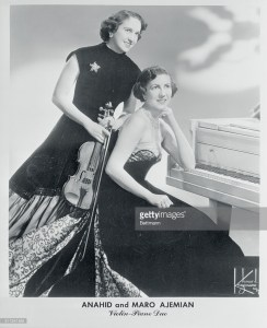 Anahid Ajemian Avakian with her sister, Maro, in a promotional photo for a performance