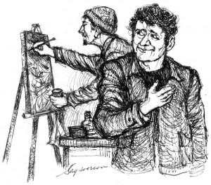 A sketch by Sagsoorian for Ararat magazine