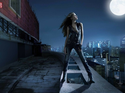 Red Dress Girl Wallpaper Brunettes Women Jeans Cityscapes Moon Night Watch Levis