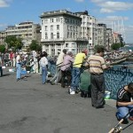 Galata Bridge Fishing in Istanbul Turkey