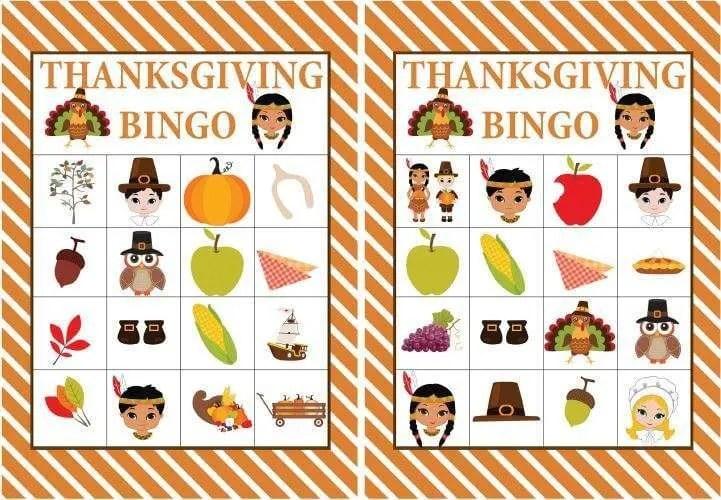 Free Printable Thanksgiving Bingo Game Kids Thanksgiving Games