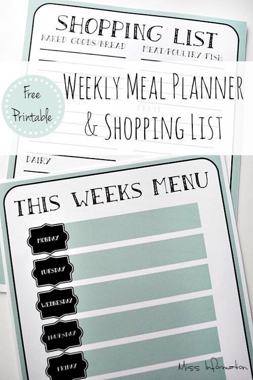 Weekly Menu PlannerShopping ListFree Printable - Printable Weekly Menu Planner With Grocery List