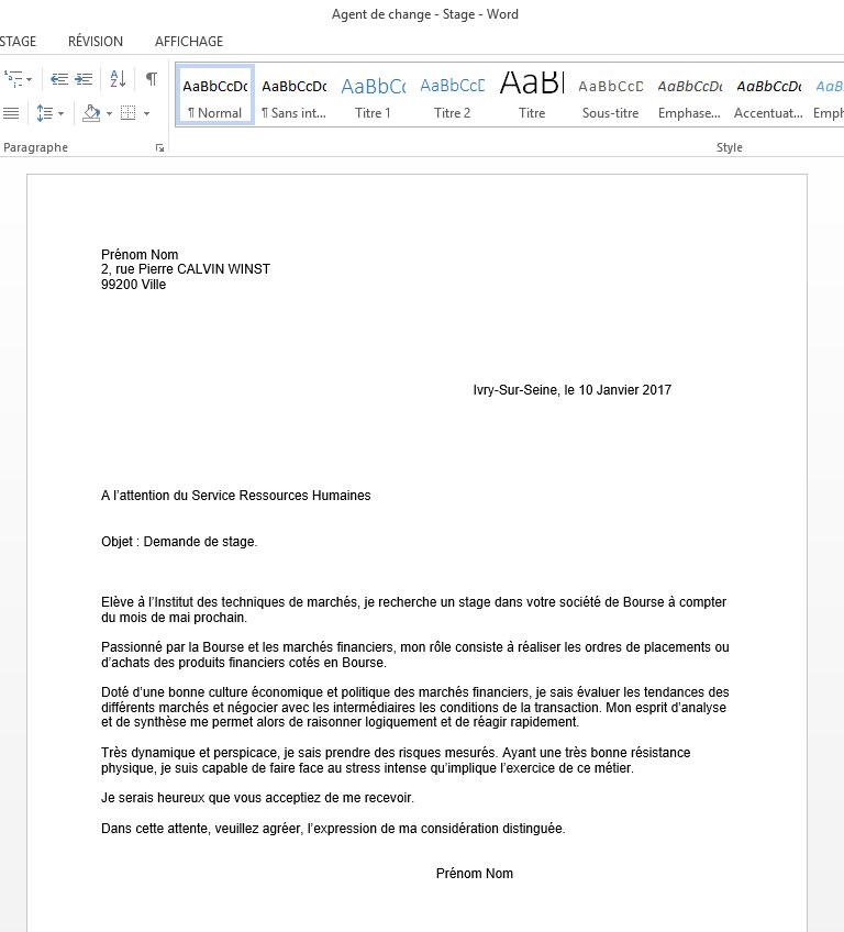 recruteur demande cv format word