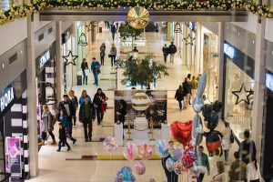 busy shopping mall with shoppers