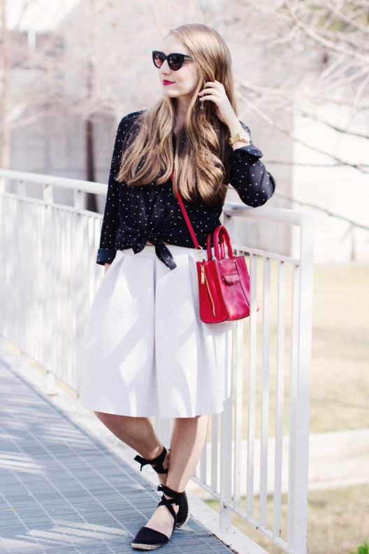 Polka dot button down and pleat skirt