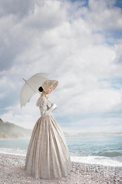Victorian Woman on a Shingle Beach by Lee Avison