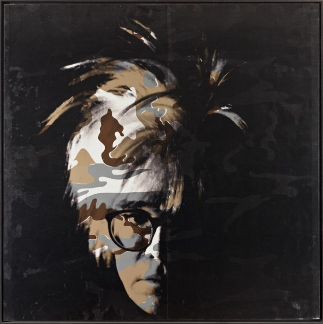Photo: Andy Warhol, Camouflage Self- Portrait , 1986. Synthetic polymer paint and silkscreen on canvas, Wadsworth Atheneum Museum of Art, Hartford, Conn. The Ella Gallup Sumner and Mary Catlin Sumner Collection Fund, with a partial gift of The Andy Warhol Foundation for the Visual Arts, Inc., 1994.12.1. © 2014 The Andy Warhol Foundation for the Visual Arts, Inc./Artists Rights Society (ARS), New York