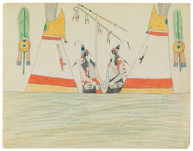 """Artwork: Attributed to Bears Heart (Nokkoist) b. 1851 d. 1882. Southern Cheyenne. Executed at Fort Marion ca. 1875-78. watercolour, graphite and coloured pencil on paper, width: 11 1/4"""", height: 8 5/8"""". Private collection, Philadelphia, PA."""
