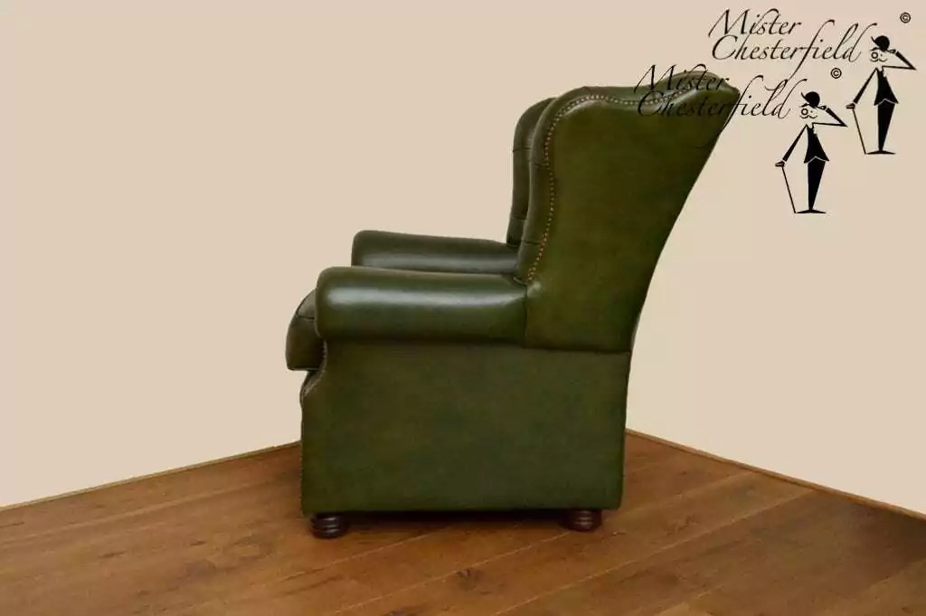Nr 02 Chesterfield Wing Chair Green Directly Available