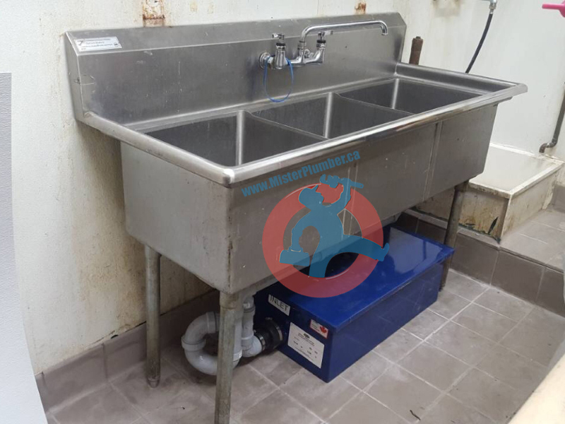Triple Compartment Sink With Grease Trap Mister Plumber