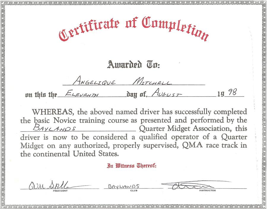 Angelique\u0027s Accomplishments - sample graduation certificate