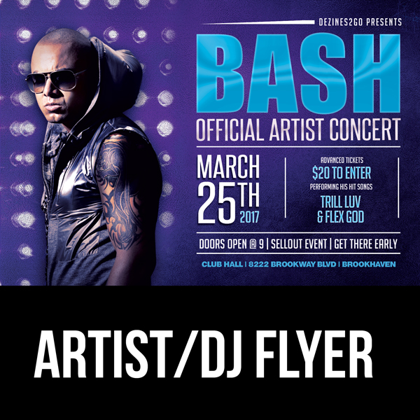 BASH Artist and Dj Flyer Template mixtapecoversnet