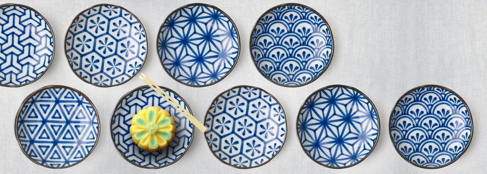 Monyou Blue White Japanese Dishes Plates Bowls