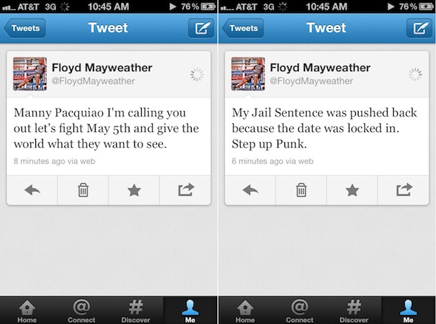 Floyd Mayweather ret a Paquiao, en Twitter.
