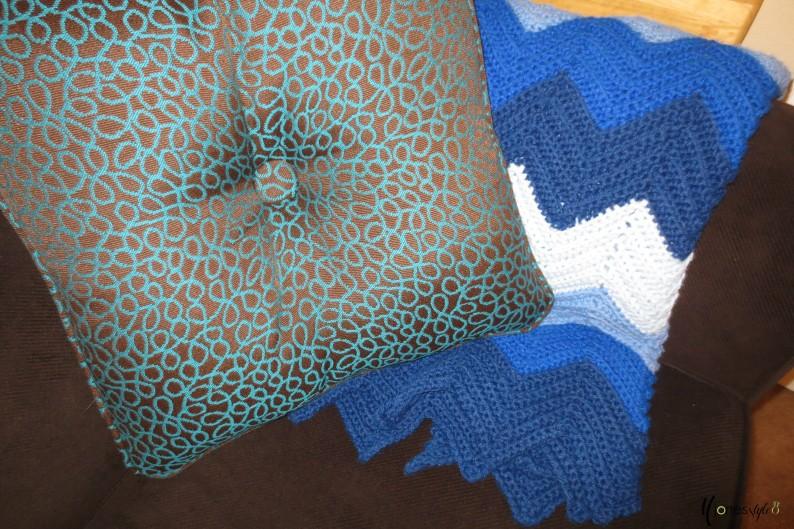 #brown and blue pillow#chevron throw