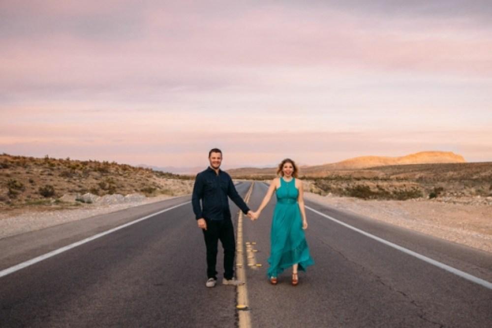 adventurous couple standing in the road - Las Vegas photographer