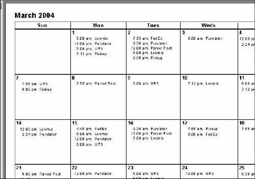 Create a calendar-style report