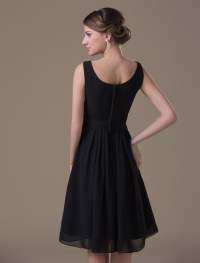 Black Chiffon Tea Length Maternity Bridesmaid Dress ...