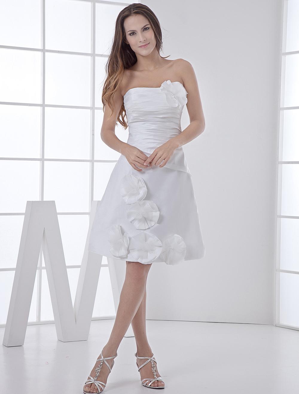 white wedding dress knee length strapless flowers ruched taffeta wedding gown p mini wedding dress White Wedding Dress Knee Length Strapless Flowers Ruched Taffeta Wedding Gown Milanoo com