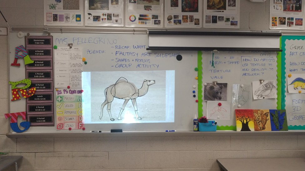 Students draw on a whiteboard in a collaborative exercise using a projected photograph in order to take a complex 2D image and simplify it into something that is much easier to draw. This exercise is used in preparation and formative assessment for a complex drawing assignment.