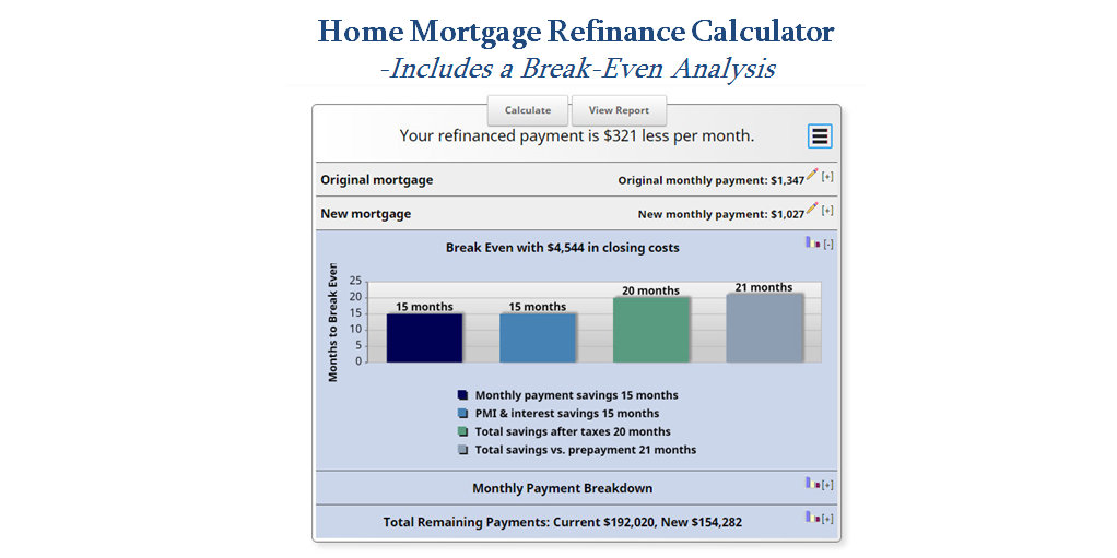 Refinance Mortgage Calculator MLS Mortgage