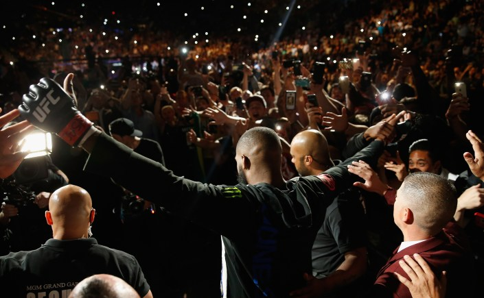 LAS VEGAS, NV - APRIL 23:  Jon Jones prepares to enter the Octagon before facing Ovince Saint Preux in their interim UFC light heavyweight championship bout during the UFC 197 event inside MGM Grand Garden Arena on April 23, 2016 in Las Vegas, Nevada.  (Photo by Christian Petersen/Zuffa LLC/Zuffa LLC via Getty Images)