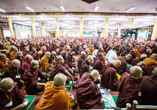 Buddhist monks attend the Ma Ba Tha national conference in Yangon on June 21. (Zarni Phyo/The Myanmar Times)
