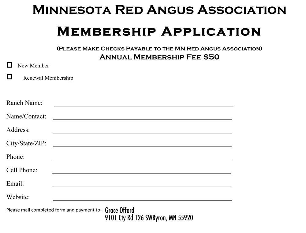 Membership Form - Minnesota Red Angus Association