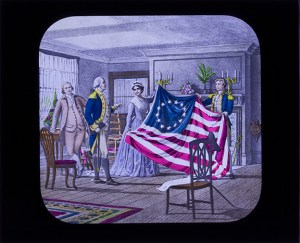 One of the lantern slides digitized. Related to the American Revolutionary War, the slides were donated to GSMT in 1928.