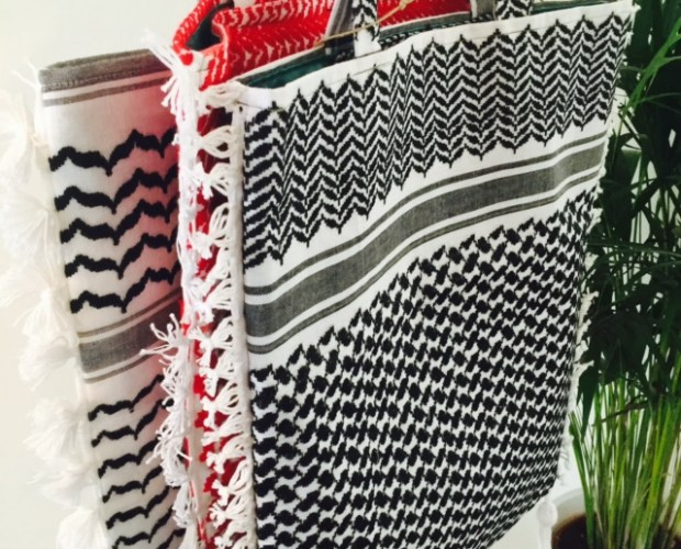 Keffiyeh shopper white/black print