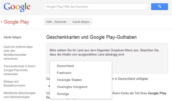Geschenkkarten google play