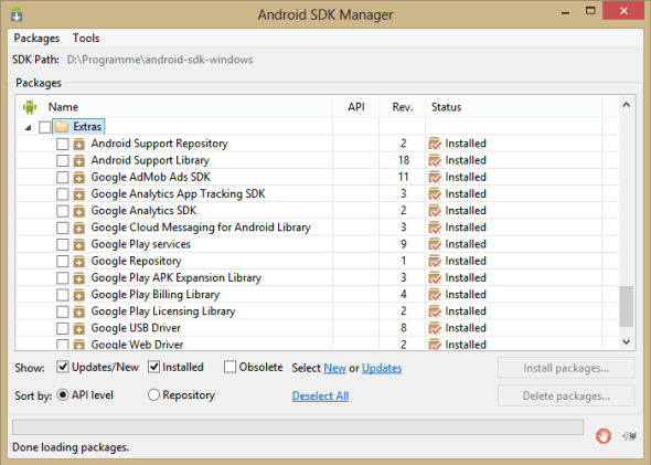 SDK Manager Support