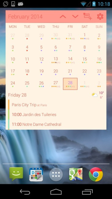 Month calendar widget cotton candy
