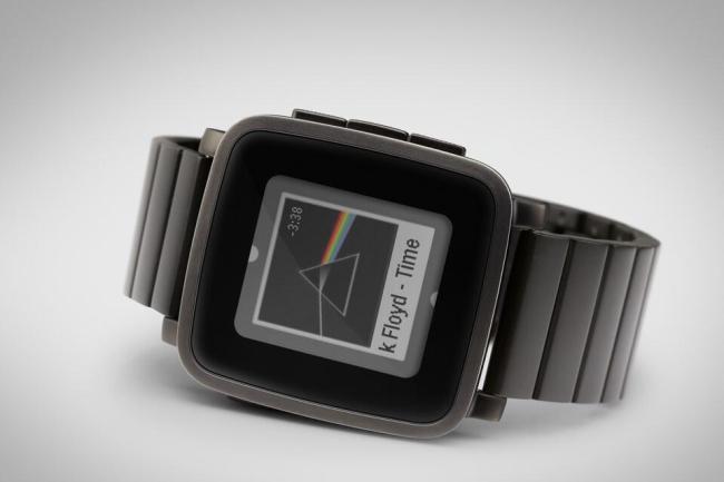 Pebble Time Steel Schwarz