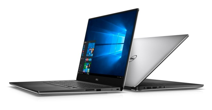 Two back-to-back Dell XPS 15 (Model 9550) Touch notebook computers. One model is open 90 degrees facing left, the other is open 45 degrees facing back right.