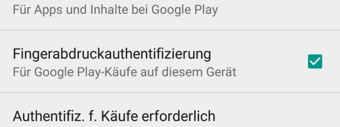 Huawei Mate 8 Google Play Fingerabdruck