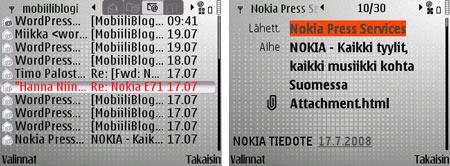 Nokia E71 sähköposti
