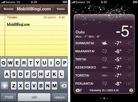 iPhone 3G muistio ja sää