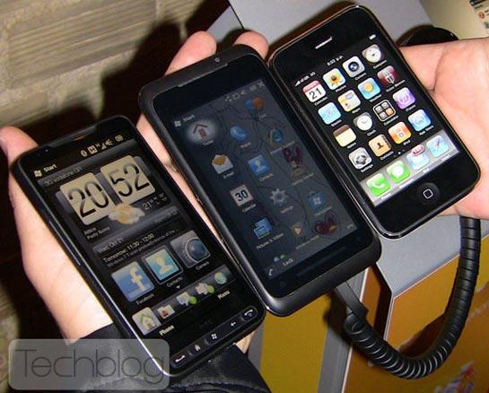 HD2, TG01 ja 3GS
