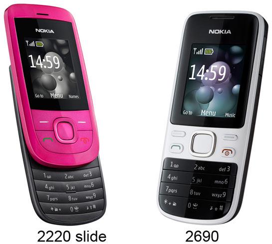 Nokia 2220 slide ja 2690